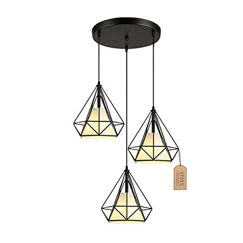 STOEX Suspension Cage Forme Diamant Contemporain 25cm Corde Ajustable Luminaire Lustre en Fer Salle à Manger,Bar,Chambre