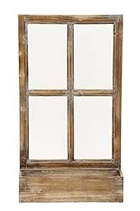 Deko-Fenster Fensterrahmen mit Pflanzkasten Holz Natur