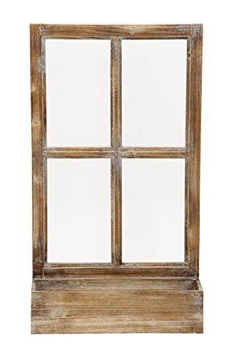 fensterrahmen deko fenster Deko-Fenster Fensterrahmen mit Pflanzkasten Holz Natur Shabby