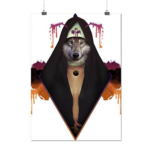 Wolf Modisch Drucken Mode Tier Zauberer Mattes/Glänzende Plakat A3 (42cm x 30cm) | Wellcoda (Weibliche Zauberer Kostüm)