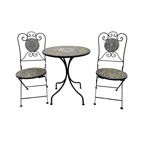 Dekoratives Mosaik Set 3-teilig Sitzgarnitur Mosaiktisch + 2 Mosaikstühle Sitzgruppe Gartentisch Gartenmöbel Bistrotisch (Stein Tisch)