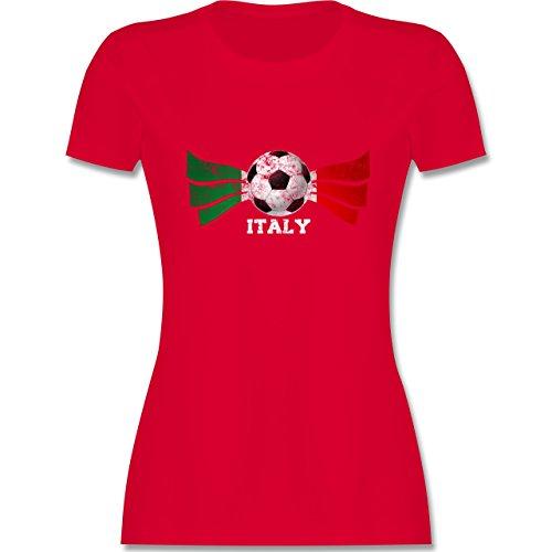 EM 2016 - Frankreich - Italy Fußball Vintage - tailliertes Premium T-Shirt mit Rundhalsausschnitt für Damen Rot