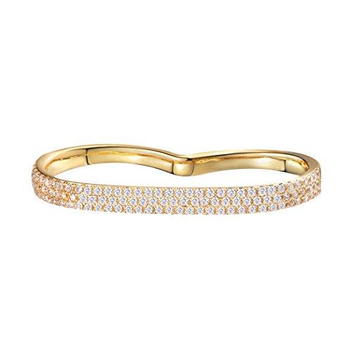 Suplight Damen Zwei Finger Ringe Simple Zweifingerring 18k vergoldet kubischer Zirkonia Statement Ringe Modeschmuck für Mädchen, golden