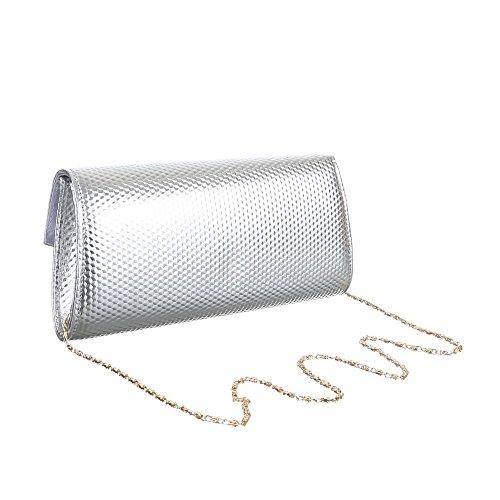 iTal-dEsiGn Damentasche Kleine Clutch Schultertasche Abendtasche Kunstleder TA-29014 Silber