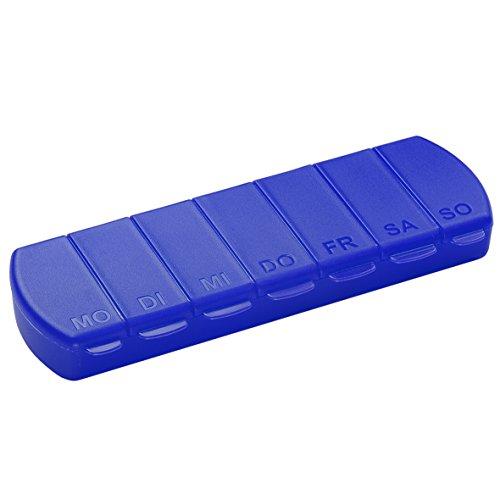 Pillendose 7 Tage Medikamentenbox Tablettenbox BPA-FREI Aufbewahrungsbox mit Deckel für Unterwegs 11 x 4 x 1.4 cm (Blau)