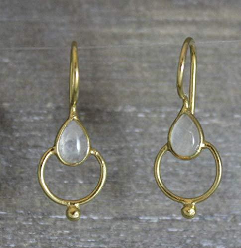 Mondstein Lotus Vergoldete Sterling Silber Ohrringe
