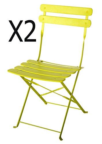 PEGANE Lot de 2 chaises de Jardin en Acier époxy Coloris Vert anis - Dim : 42 X 46 X 80 cm