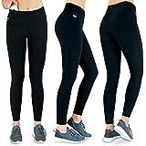 Formbelt® Laufhose Damen mit Tasche lang - Leggins Stretch-Hose Lauf-Tights für Smartphone iPhone Handy Schlüssel Yoga (A-schwarz, XXL)