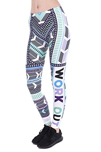 FRINGOO - Leggings sportivi -  donna Workout Aztec Mint