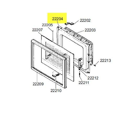 Porte + Verre S32 Référence : 696131432 Pour Micro Ondes Smeg