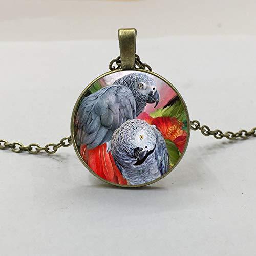 Neue Kongo Afrikanischen Roten Schwanz Grau Papagei Anhänger Halskette Glas Cabochon Xmas Vogel Geschenk Schmuck Für Frauen