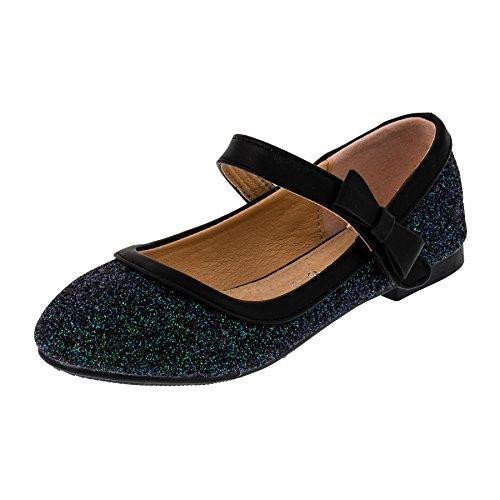 Festliche Mädchen Glitzer Ballerinas Schuhe mit Echt Leder Innensohle M407sw Schwarz 26