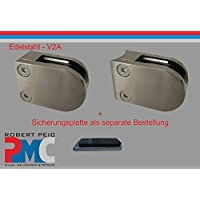 Pmc Acero Inoxidable inox V2A, para tubos de 33,7mm Pinza de soporte para cristal Glass Clamp Mod: 09