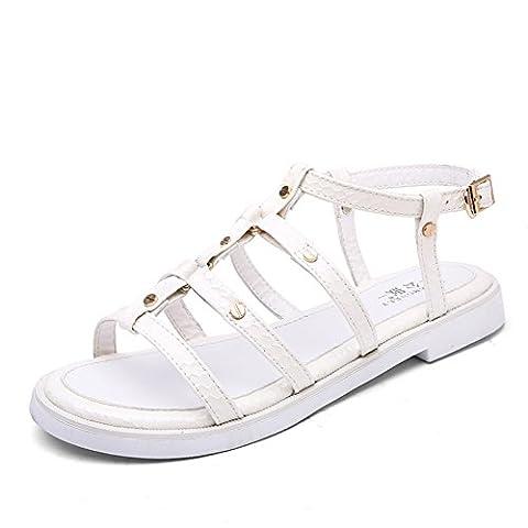 sandale/sandales plates femelles/chaussures occasionnelles à talon plat/chaussons-C Longueur du pied=23.3CM(9.2Inch)