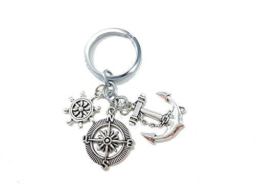 Anker mit Kompass und Steuerrad Schiffsruder Schlüsselanhänger Metall