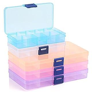 Naler 5 Plastikschachtel in 5 Farben SortierboxPlastik Box für Aufbewahrung 10/15 Variable Fäche