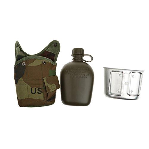 Generic Outdoor Militärisch Camping Armee Wasserflasche Kanne + Tasse Becher + Beutel Tasche - Dschungel Camo