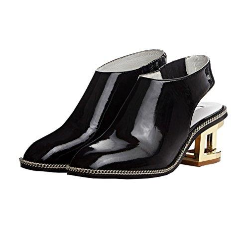 ENMAYER Frauen Elastische Band Slingbacks Spitz Zehen Knöchel Schuhe Frauen Fretwork Heels Pumps Solid Casual Kleid für Schuhe Schwarz