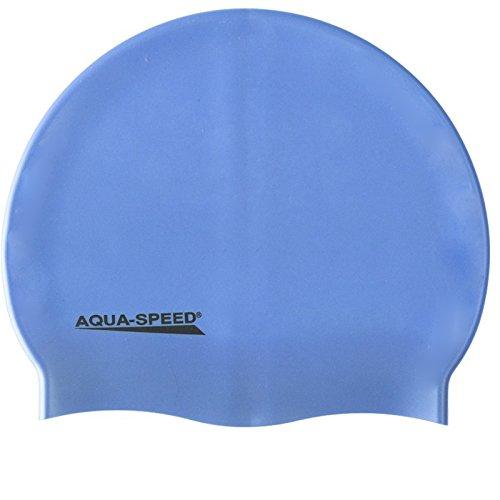 Aqua Speed MEGA Badekappe aus Super-Stretch-Silikon (Bademütze Badehaube Swimming Cap), Modell:Mega/hellblau 02