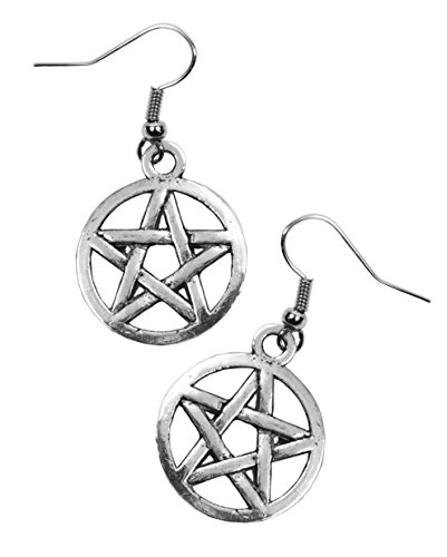 Pentagrama Charm pendientes. Earwires. Puntas acero