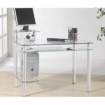 klarglas schreibtisch computertisch b rotisch tisch design. Black Bedroom Furniture Sets. Home Design Ideas
