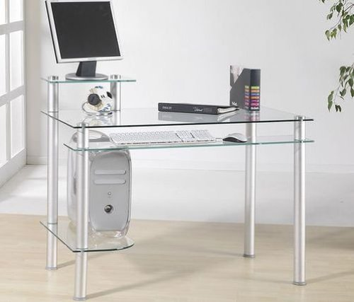 Klar Glas-schreibtisch (Klarglas Schreibtisch Computertisch Bürotisch Tisch Design Modern Klar Glas)
