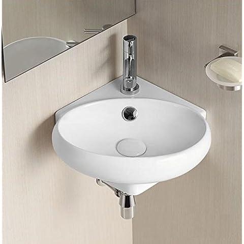 Art of Baan–Ciotola rotonda angolo Design, 380x 360x 130mm in colore bianco, con Lotus effetto–lavabo, lavabo,