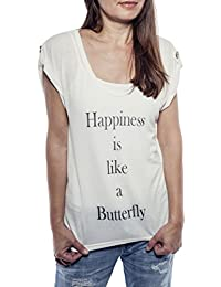 Ella Manue Frauen V-Neck Shirt Happiness is like a Butterfly Print