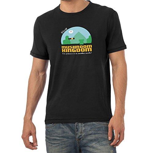 NERDO - Visit Mushroom Kingdom - Herren T-Shirt, Größe XL, schwarz