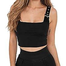 Camisetas de Tirantes para Mujer Ajustable Hebilla de Metal Chaleco Corto Delgado Color Liso Jersey Deportivo