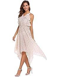 9eb942764 Vestido De Gasa Con Floral Vestido Largo Estampado Para Mode De Marca Mujer  Vestido De Verano Sin Mangas Con Cuello En V Fuera Del…