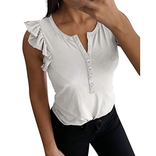 BfmyxgsEinfarbige Weste der Art und Weisefrauen V-Ausschnitt gekräuselte Knopf-Sleeveless T-Shirt Weste Jugend frisch und süß -