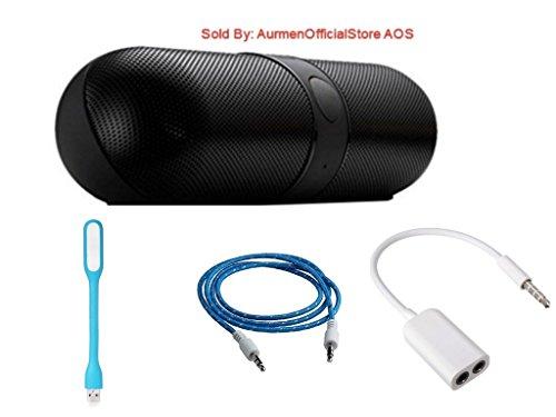Aurmen Premium Boom Bass HiFi Bluetooth Pill Speaker (Black) with USB LED Light + Aux Cable + USB Fan Free