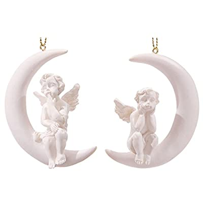 White Cherub Sitting in Crescent Moon