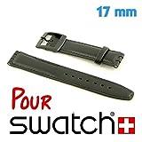 Pour Swatch Bracelet cuir noir 17 mm My-Montre