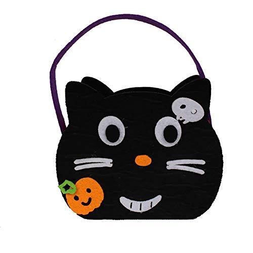 l Dekoration Set Halloween Kinder Tragetasche Katze Gesicht Kürbis Tasche 1 Pack für Halloweendeko Make-up-Party Halloween Dekoration ()