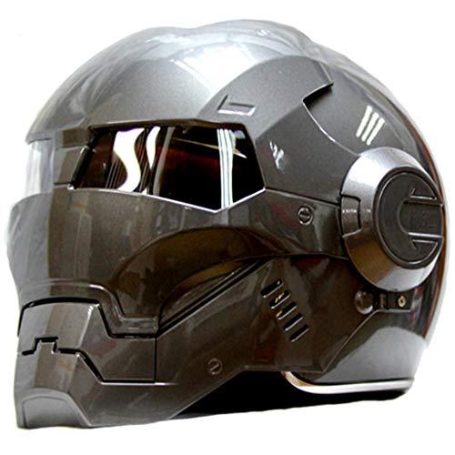 wthfwm Herren Iron Man Helm Marvel The Avengers Anti-Kollision Highway Helm Professional Erwachsener Off Road Helm grau,Grey-M
