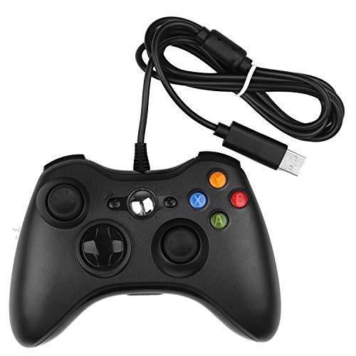Xbox 360 Controller STOGA Gamepad Gamepad USB verkabelte Schultertasten verbessertes ergonomisches Design Joypad Gamepad Controller für Microsoft Xbox & Slim 360 PC Windows 7 (schwarz) (br2)