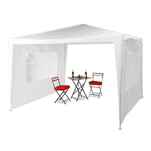 Relaxdays Tonnelle pavillon chapiteau pergola festival 3x3 m , 2 côtés fenêtres métal PE tente de jardin, blanc