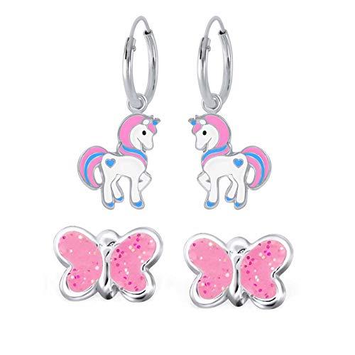 FIVE-D 2 Paar Kinder Ohrringe Creolen Einhorn und Glitzer Schmetterling aus 925 Sterling Silber im Schmucketui (Rosa-Bunt-Pink)
