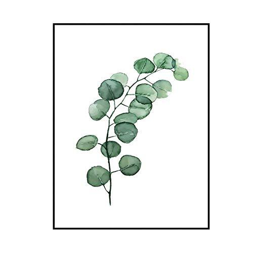 nd Kunst Grün Blätter Malerei Pflanze Dekorative botanische Kunstdruck Minimalismus Leinwand Poster für Wohnzimmer, Sofa, Cafe, Büro, Hotel (D, S) ()