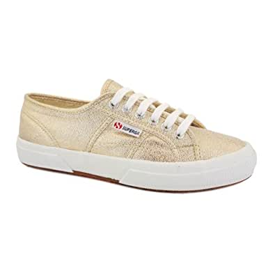 Superga 2750 Lamew Classic Womens Laced Canvas Trainers Gold - 8