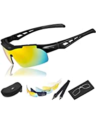 HiHiLL Gafas Ciclismo Hombre, Gafas de Sol Deportivas Polarizadas con 5 Lentes Intercambiables UV400 Protección Antivaho Antireflejo Anti Viento para Hombre y Mujer - Negro Brillante