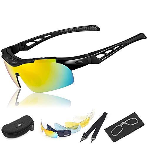 e888bd4394 HiHiLL Gafas Ciclismo Hombre, Gafas de Sol Deportivas Polarizadas con 5  Lentes Intercambiables UV400 Protección