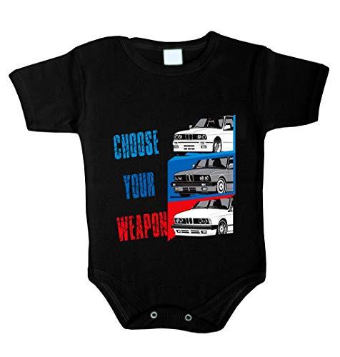 Choose Your Weapon Power Baby Body inspiriert von M3 M5 M6 X6 X5 M E30 E46 F10 Driver Babykleidung Strampler Unterwäsche Xmas Gift (62 (0-3 m), Schwarz) -