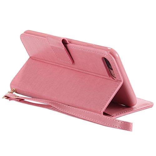 iPhone 7 Plus Coque en Cuir Folio avec Corde Strap,iPhone 7 Plus Housse Portefeuille Pu avec Magnétique Stand,JAWSEU Neuf Désign[Lumineux] Ultra Slim Retro Relief Flip en Cuir Étui de protection éléga rose