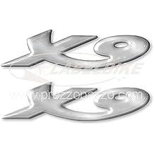 2 Adhesivos Resina 3d Scritta X9 Per Scooter 250-500 Per Piaggio X 9 Plata