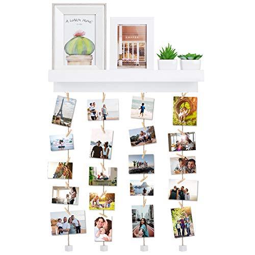 Vencipo mensole da muro bianche design per appendere cornice portafoto collage, cornici foto in legno multipla con 24 foto clips, scaffale legno accessori per camera da letto.