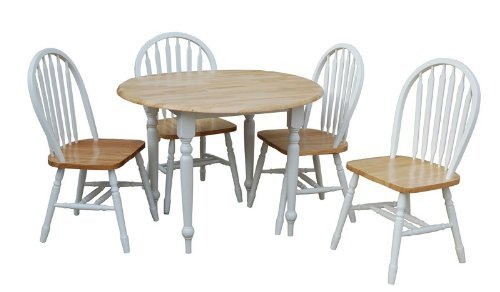 TMS 5 Piece Drop Leaf Dining Set, White/Natural by Target Marketing Systems -