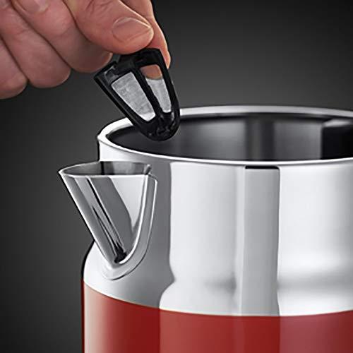 Russell Hobbs Retro Ribbon Red 21670-70 Wasserkocher 2400 W mit  stylischer Wassertemperaturanzeige Schnellkochfunktion, rot - 4